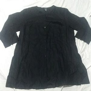 Eileen Fisher black linen blouse